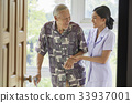 A senior man is standing and smiling to a nurse beside the door 33937001