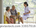 A senior couple is sitting, smiling and listening to a nurse 33937016