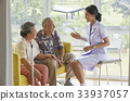 A nurse is sitting and talking to two old patients 33937057