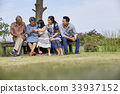 an extended family is sitting in a park and talking 33937152