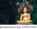 Asian Thai Golden Buddha sitting with Naka snake 33937430
