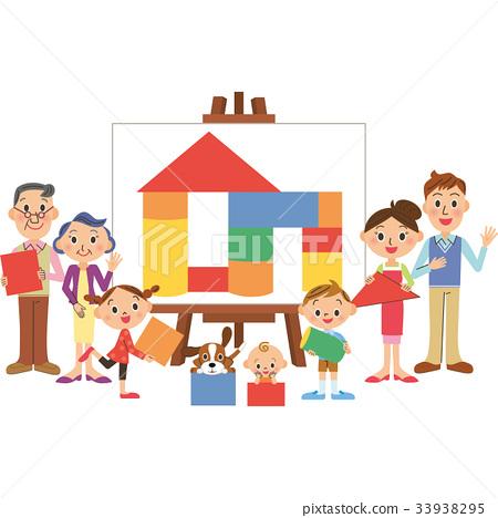 三代家庭积木帆布 33938295