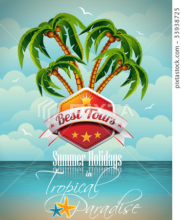 Vector Summer Holiday Flyer Design with palm trees 33938725