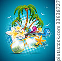 Summer Holiday Flyer Design with palm trees 33938727