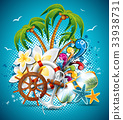 Summer Holiday Flyer Design with palm trees 33938731