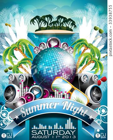 Vector Summer Beach Party Flyer Design 33938755