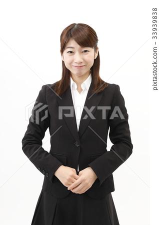 女商人西裝婦女白色背景 33939838