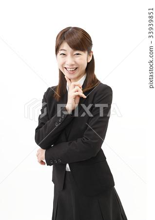 女商人西裝婦女白色背景 33939851