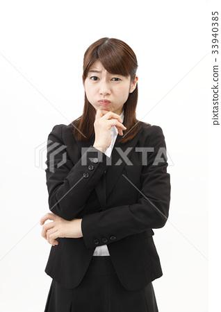 女商人西裝婦女白色背景 33940385