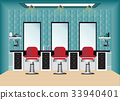 Barber shop with barber chair and mirror. 33940401