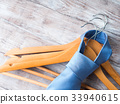 Wooden clothes hangers with man's tie 33940615