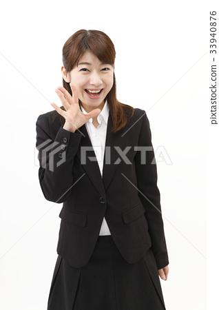 女商人西裝婦女白色背景 33940876