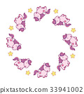 Round frame with cute kawaii style horses and 33941002