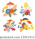 Set of hand drawn bouquets made of mushrooms 33941913
