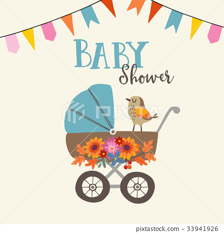 Cute baby shower invitation or birthday card with 33941926