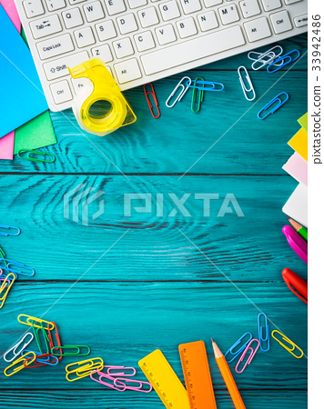Stationery colorful school workplace frame 33942486