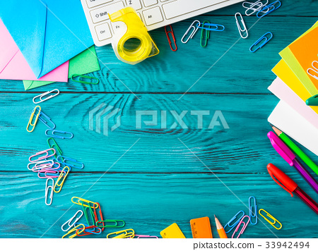 Stationery colorful school workplace frame 33942494