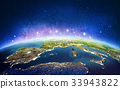 Europe from space galaxy stars. 3D rendering 33943822