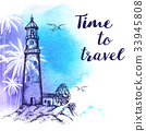Travel background with lighthouse 33945808