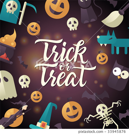 Trick or treat - Halloween celebration poster with 33945876