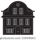 Old european city house. Black outline drawing 33949661