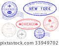 Postmarks NEW YORK and CHICAGO. Blue and red ink 33949702