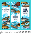 Sea fish banners for seafood or fishing design 33953555