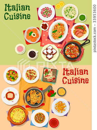 Italian cuisine traditional dishes and salads 33953600