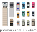 Collection of various vehicles. Top view. 33954475