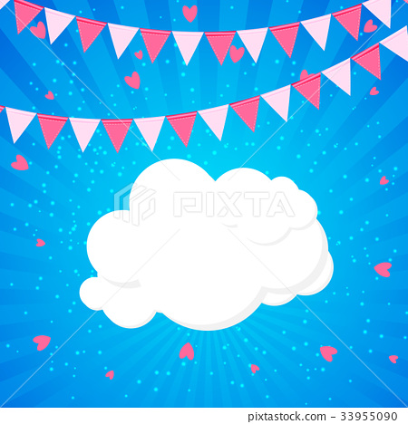 Little Princess Background with Flags and Cloud 33955090