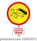 Warning Hurricane Irma. Danger to transport sign 33955671