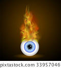 Vector Burning Blue Eye with Fire Flame 33957046