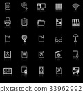 Library line icons with reflect on black  33962992