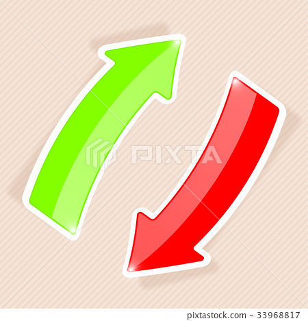 Green and red arrows with white border. Sticker 33968817