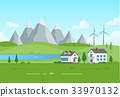 Housing estate with windmills by the lake - modern 33970132
