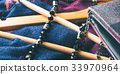 Wooden clothes hangers. Winter woman accessories 33970964