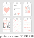 Gift  tags with hearts and love 33996938