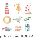 Cartoon vector nautical elements 34008959
