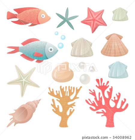 Vector illustrations set of sea inhabitants. 34008962