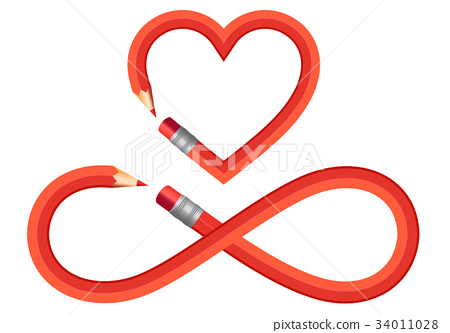 Pencil Heart And Infinity Sign Vector Set Stock Illustration