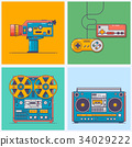 Retro gadgets from 90s in flat line style. Vintage 34029222