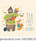 Tea party with cute animals 34038819