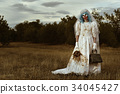scary evil clown in a bride dress 34045427