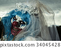 scary evil clown in a bride dress 34045428