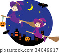 Parents and children of a witch flying in the night sky 34049917