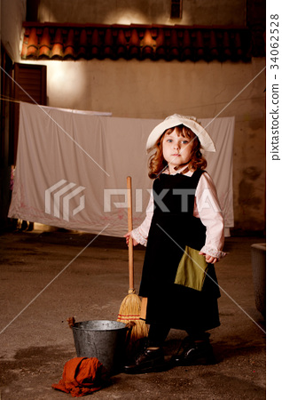 Portrait of a little caucasian girl in character 34062528