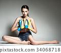 Beautiful woman holds high heels. Fashion  34068718