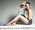Beautiful woman holds high heels. Fashion  34068723
