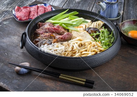 Sukiyaki in traditional Cast Iron Pot 34069052