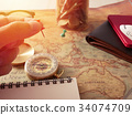 Planning travel concept, travel accessories.Sticky 34074709